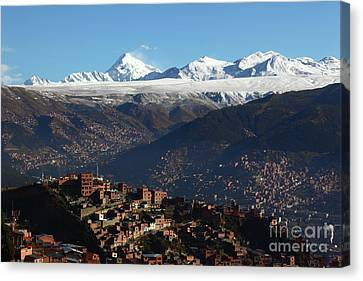View Across La Paz To The Cordillera Real Mountains Bolivia Canvas Print