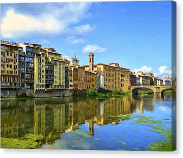 View Across The River Arno Canvas Print by Dominic Piperata