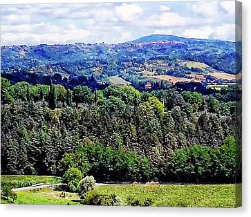 View Across The Valley From Cetona Tuscany Canvas Print by Dorothy Berry-Lound
