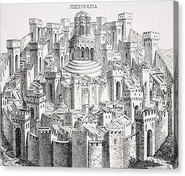 Medieval Temple Canvas Print - View And Plan Of Jerusalem. Facsimile by Vintage Design Pics