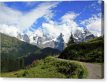 View At The Famous Mountains Eiger Moench And Jungfrau Switzerland Canvas Print
