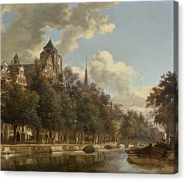View Down A Dutch Canal Canvas Print