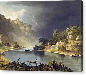 View Down The River At The New Weir Canvas Print by Theodore Henry Fielding