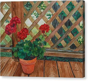 View From A Deck Canvas Print by Lynne Reichhart