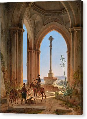 View From A Gothic Church Ruin With Locking Hunters On A Pilgrimage Cross And A Bay In Valencia Canvas Print