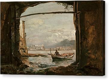 Italian Landscape Canvas Print - View From A Grotto Near Posillipo by Johan Christian Dahl