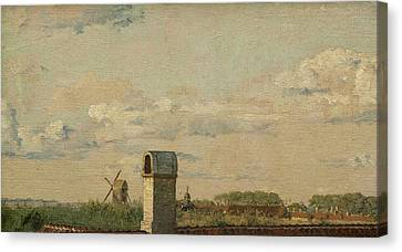 View From A Window In Toldbodvej Looking Towards The Citadel In Copenhagen Canvas Print by Christen Kobke
