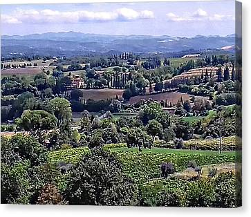 View From Cetona In Tuscany To Citta Della Pieve In Umbria Canvas Print by Dorothy Berry-Lound