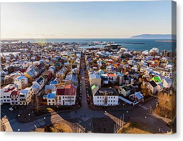 Canvas Print featuring the photograph View From Hallgrimskirka by Wade Courtney