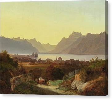 View From Lake Geneva Vevey Canvas Print by MotionAge Designs