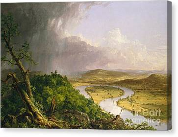 View From Mount Holyoke, Northampton, Massachusetts, After A Thunderstorm The Oxbow, 1836 Canvas Print by Thomas Cole