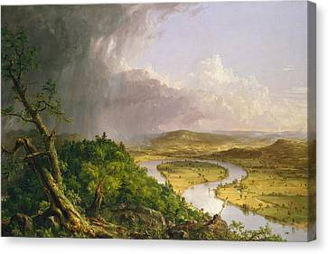 View From Mount Holyoke Northampton Massachusetts After A Thunderstorm. The Oxbow Canvas Print by Thomas Cole