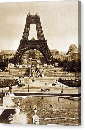 The Eiffel Tower Canvas Print - View From The Chaillot Palace Of The Eiffel Tower Being Built by French School