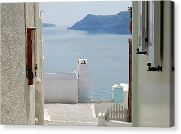 Island Stays Canvas Print - View From The Doors Of The Aegean Sea by Yuri Hope