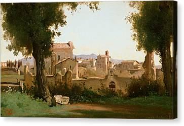 Italian Landscapes Canvas Print - View From The Farnese Gardens, Rome by Jean-Baptiste-Camille Corot