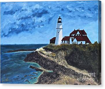 View From The North Portland Head Light Canvas Print