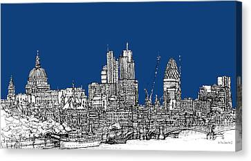 View From The Southbank With Summer Blue Skies Canvas Print
