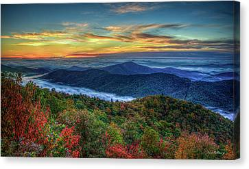 View From The Top Blue Ridge Mountain  Parkway Sunrise Art Canvas Print