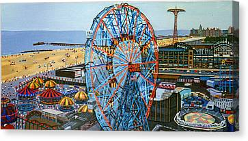 View From The Top Of The Cyclone Rollercoaster Canvas Print by Bonnie Siracusa