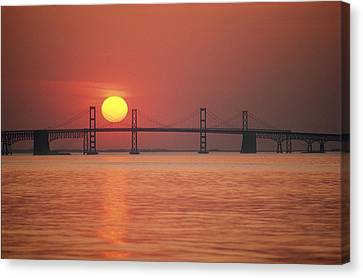 Solar Phenomena Canvas Print - View From The Water Of The Chesapeake by Kenneth Garrett