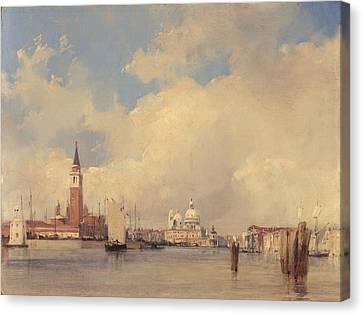 View In Venice With San Giorgio Maggiore Canvas Print by Richard Parkes Bonington