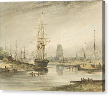 View Looking Up The River, Taken From Below The Rope Walk And Wapping Canvas Print
