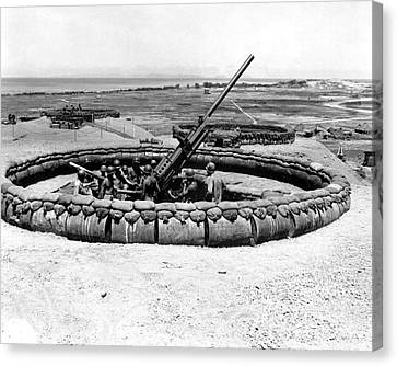 View Of A 90mm Aaa Gun Emplacement Canvas Print by Stocktrek Images