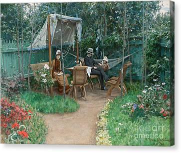 View Of A Garden, Linkoping Canvas Print by Johan Fredrik Krouthen