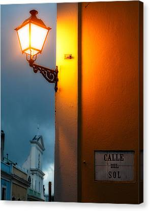 View Of A Lit Old Street Lamp Calle Del Sol Puerto Rico Canvas Print by George Oze