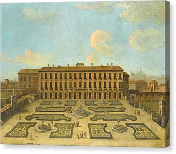 View Of A Palace Possibly The Palacio Riofrio In Segovia With Figures Promenading In The Formal Gard Canvas Print by Follower of Francesco Battaglioli