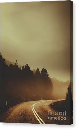 View Of Abandoned Country Road In Foggy Forest Canvas Print by Jorgo Photography - Wall Art Gallery