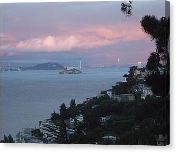 View Of Alcatraz From Our Sausalito Home Canvas Print