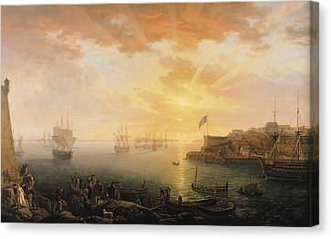 View Of Brest Harbor Canvas Print by Jean Francois Hue