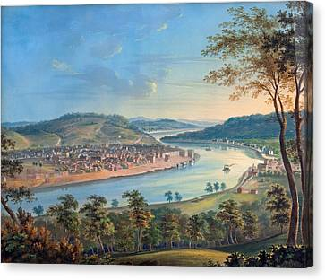 Canvas Print featuring the painting View Of Cincinnati From Covington by John Caspar Wild
