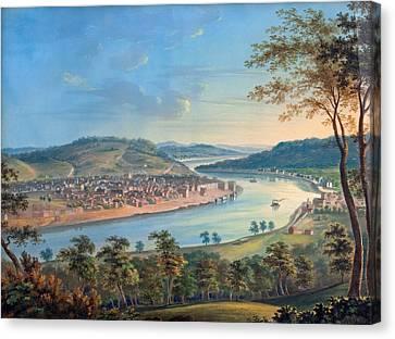 View Of Cincinnati From Covington Canvas Print by John Caspar Wild