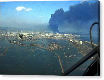 View Of Destroyed Sendai Japan On March Canvas Print by Everett