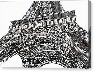 View Of Eiffel Tower First Floor Deck Paris France Colored Pencil Digital Art Canvas Print