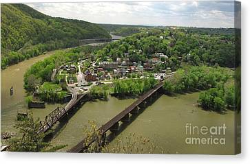 View Of Harpers Ferry From Maryland Heights Overlook Canvas Print by Ben Schumin