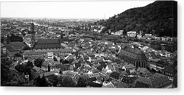 View Of Heidelberg Altstadt B W Canvas Print by Teresa Mucha