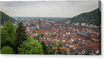 View Of Heidelberg Altstadt On A Rainy Morning Canvas Print by Teresa Mucha