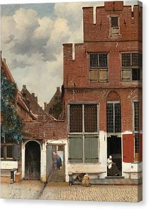 View Of Houses In Delft Canvas Print by Jan Vermeer