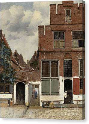 View Of Houses In Delft, Known As The Little Street Canvas Print by Jan Vermeer