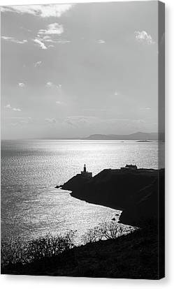 Canvas Print featuring the photograph View Of Howth Head With The Baily Lighthouse In Black And White by Semmick Photo