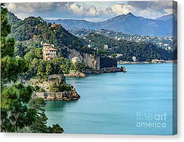 View Of Italian Riviera From Portofino, Italy Canvas Print by Global Light Photography - Nicole Leffer