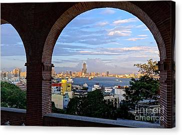 Canvas Print featuring the photograph View Of Kaohsiung City At Sunset Time by Yali Shi