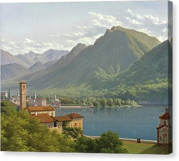 View Of Lake Lugano Canvas Print by Lancelot-Theodore Turpin de Crisse