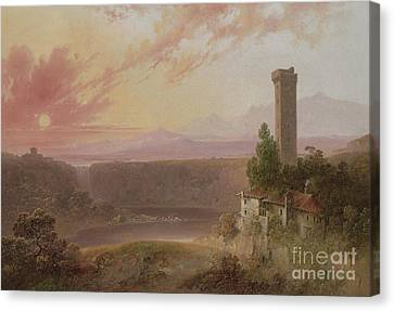 View Of Lake Nemi At Sunset Canvas Print