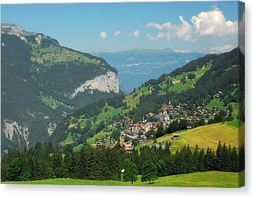 Wengen Canvas Print - View Of Lauterbrunnen Valley by Anne Keiser