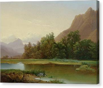 View Of Le Bouveret Canvas Print by Alexandre Calame