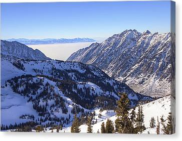View Of Little Cottonwood Canyon From Hidden Peak Canvas Print